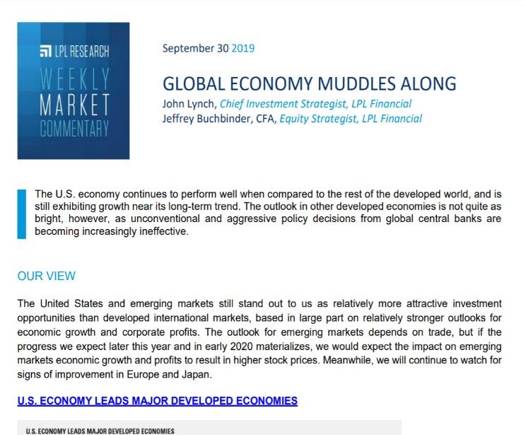 Global Economy Muddles Along | Weekly Market Commentary | September 30, 2019