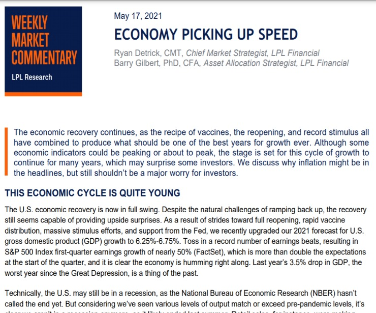 Economy Picking Up Speed | Weekly Market Commentary | May 17, 2021