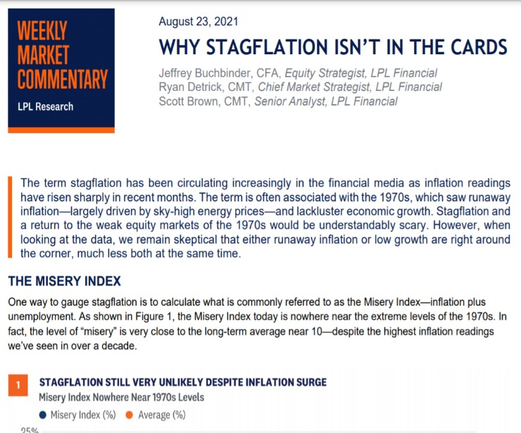 Why Stagflation Isn't in the Cards | Weekly Market Commentary | August 23, 2021