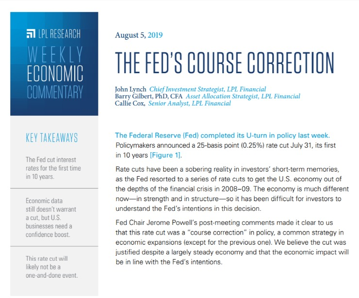 The Fed's Course Correction | Weekly Economic Commentary | August 5, 2019