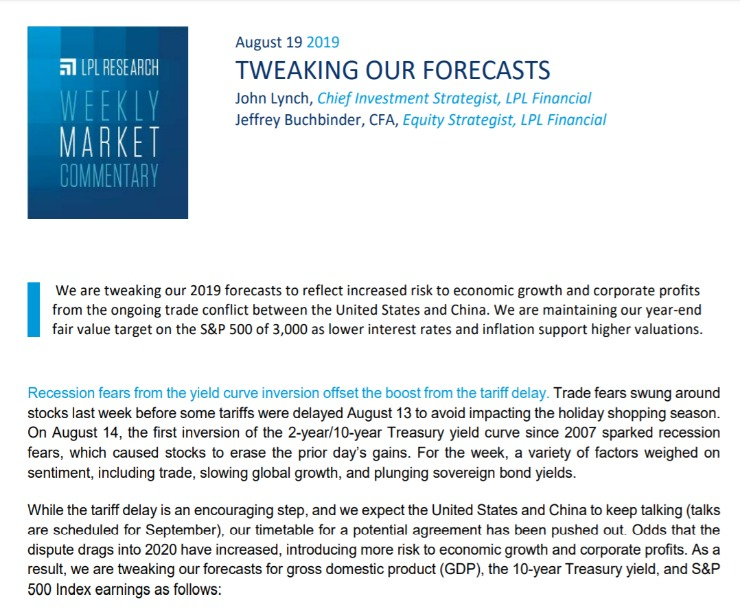Tweaking Our Forecasts | Weekly Market Commentary | August 19, 2019