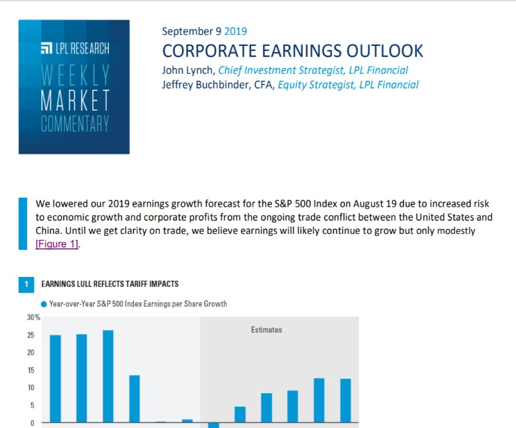 Corporate Earnings Outlook   Weekly Market Commentary   September 9, 2019