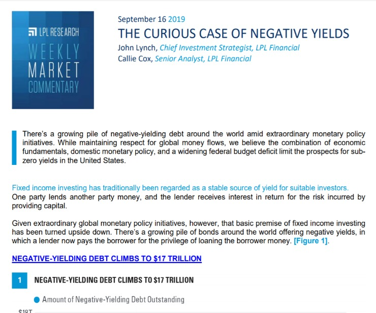 The Curious Case of Negative Yields   Weekly Market Commentary   September 16, 2019
